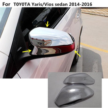 ABS Chrome decoration Car stick rear view Rearview Side glass Mirror Cover trim frame For Toyota Vios/Yaris sedan 2014 2015 2016