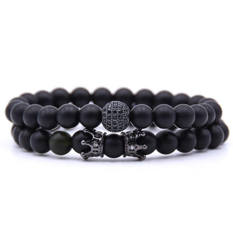 KANGKANG 2Pcs/Set popular Pave CZ Small Crown and ball Bracelet Classic Matte Black Natural Stone 4 style Bead Bracelets Jewelry