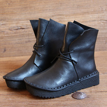 Original handmade leather strap thick with short boots women's shoes ankle boots wedges platform shoes lace black boots