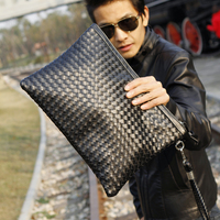 New Bag Men New Fashion Men'S Weaving Clutch Bag Black Leisure Envelope Bag Business Small Phone Bags Cases Clutch Designer