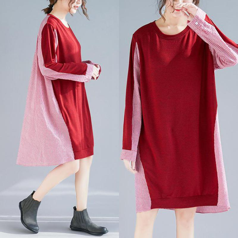 Bas Contraste Longue De Confort red Light Rayures À Mode Section Plus Blue Robes Robe 2019 Uswmie Femmes Manches Printemps Couleur Taille Longues zwwqPBSp