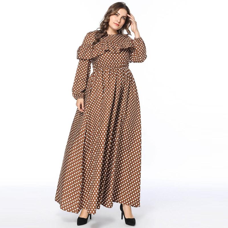 Brown Polka Dots Pleated Maxi Long Dress Women Elegant Ruffles Long Sleeve Elastic Waist Party Swing Dresses Muslim Robe 4XL