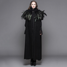 Devil Fashion Steampunk Women Long Cloak Coats Gothic Dark Velvet Hooded Overcoats with Feather Shawl Halloween Loose Capes