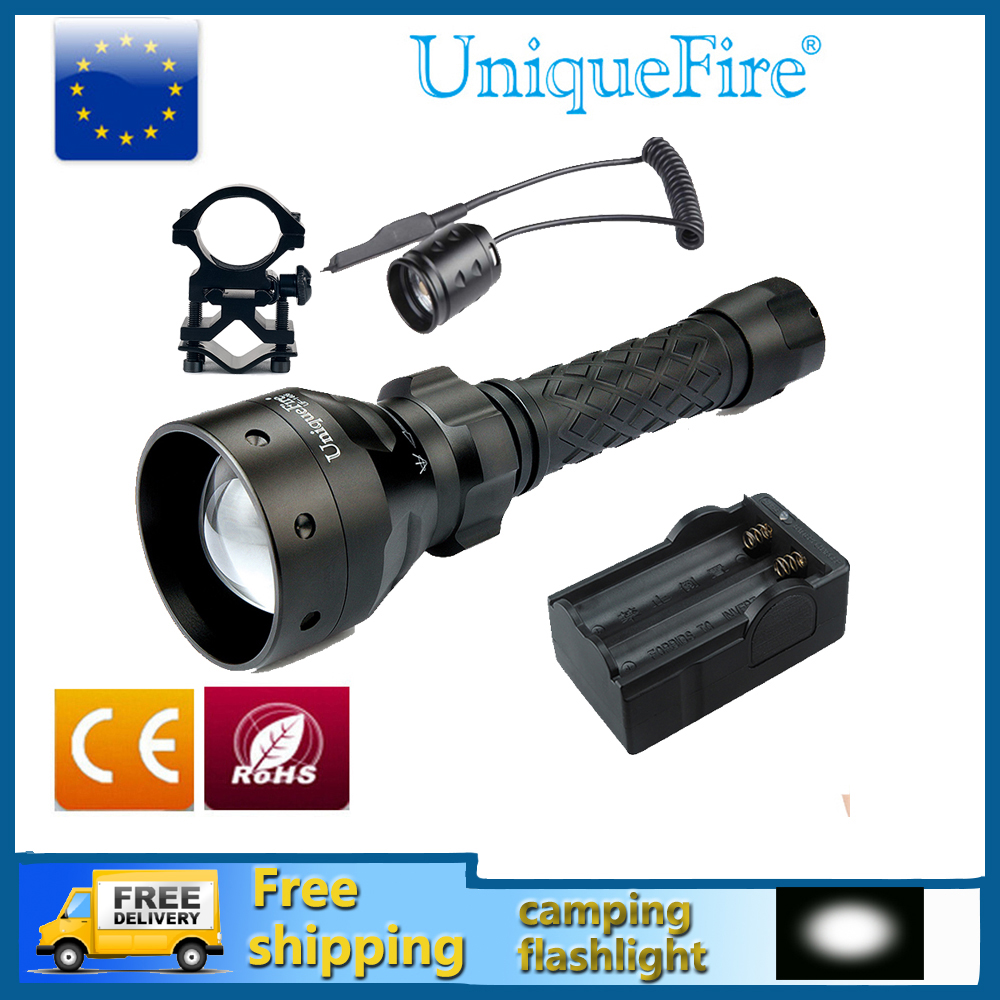 UniqueFire UF-1406-XP-E Adjustable LED Flashlight Hunting Rechargeable Flashlight+Rat Tail+Charger+Gun Mount Waterproof