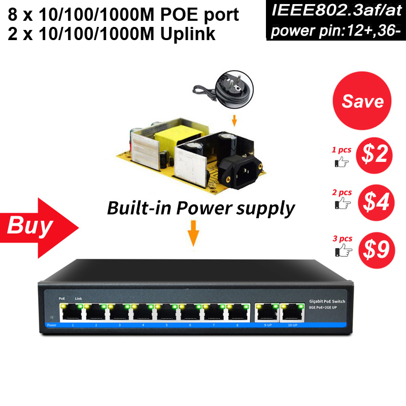 SZSSCEE Gigabit 10 port Poe Switch support Ieee802 3af at Ip cameras and Wireless AP 10