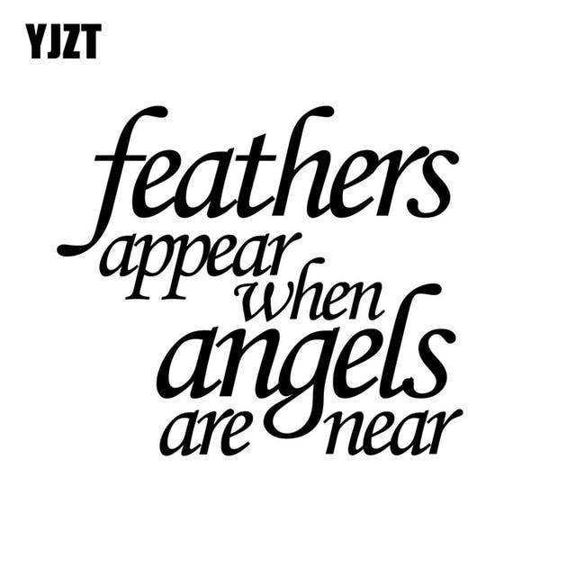 Yjzt 14 12 1cm Fashion Feather Appear When Angels Are Near Vinyl Car