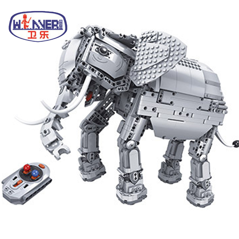1542pcs Creative RC Remote Control Elephant Animal Electric Building Blocks Model Bricks Toy for Children Gifts