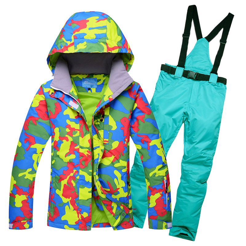 2019 RIVIYELE new Woman Snow Jackets Ladies Ski suit sets Female Snowboarding clothing outdoor sports Costumes ski pant in Snowboarding Sets from Sports Entertainment
