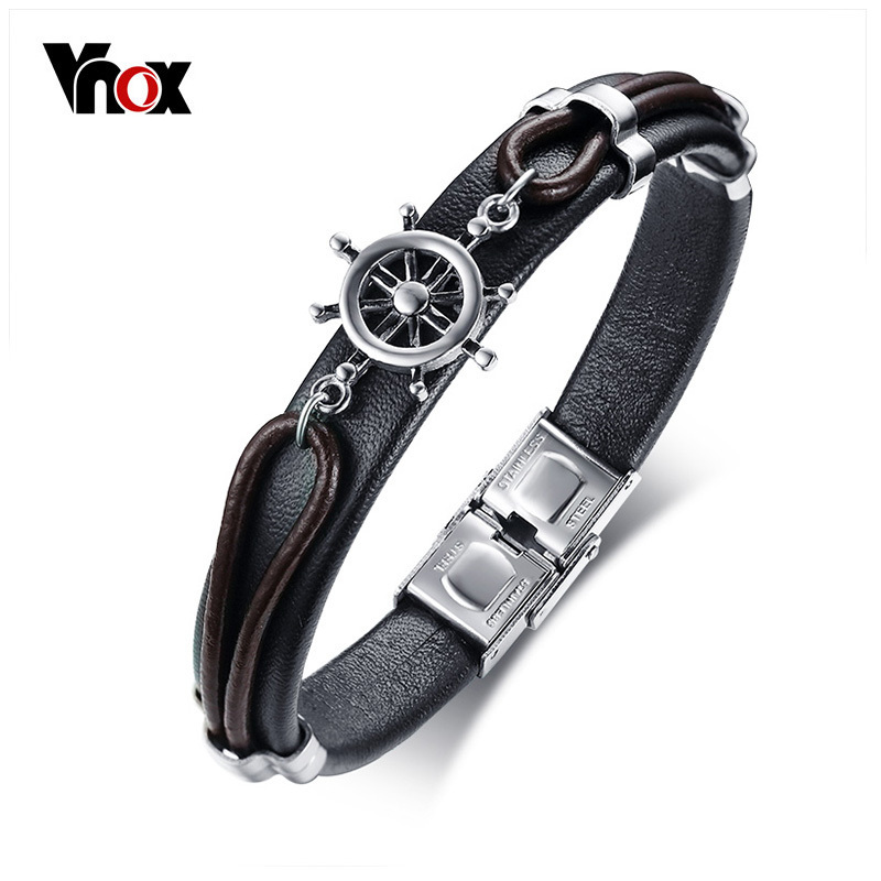 Vnox Mens Genuine Black Leather Bracelet Punk Rudder Charm Link Chain Bracelet Bangle Jewelry 8.46 2016 chain link charm china wholesaler top quality mens and womens wide titanium fashion bracelet jewelry