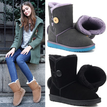 Classic wooden button warm and wear-resistant non-slip ladies snow boots suede leather wool to keep womens shoes