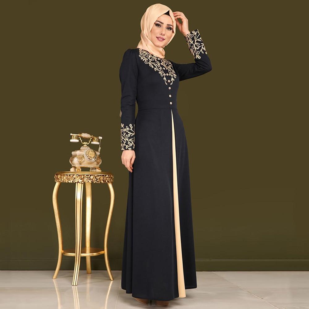 4c4b099989 ... Women Dubai Abaya Black Robe. Sale! 🔍. Gold-Stamping-Printing-Muslim- Dress-