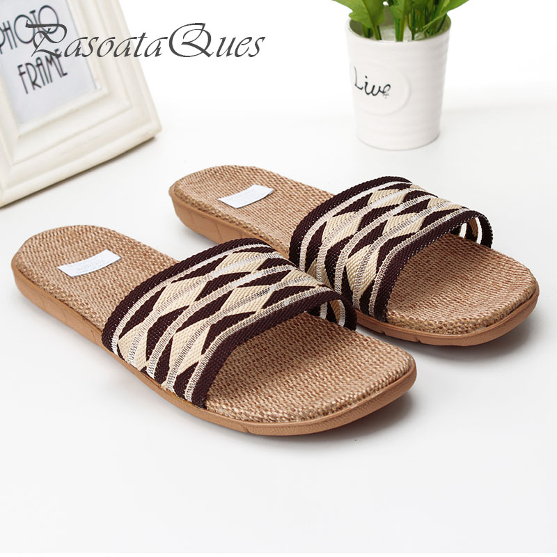 Hemp Men Slippers Gingham Breathable House Indoor Home Spring Summer Women Shoes Pasoataques Brand Asspfhp107 new hello kitty spring summer slippers comfortable breathable linen house home indoor women shoes pasoataques brand