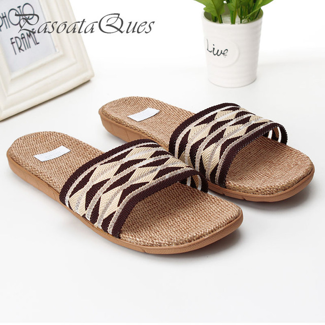 077ab37bf9f32c Hemp Men Slippers Gingham Breathable House Indoor Home Spring Summer Women  Shoes Pasoataques Brand Asspfhp107