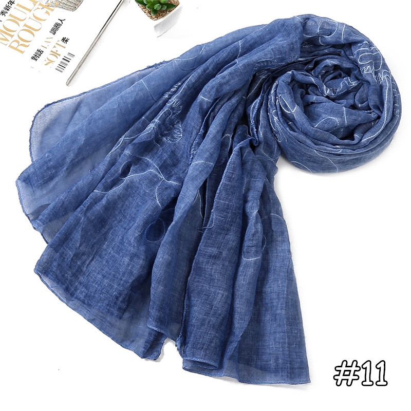 13 colors new arrival plain solid cotton viscose scarves women floral embroider luxury brand soft muslim hijab wholesale 190*75