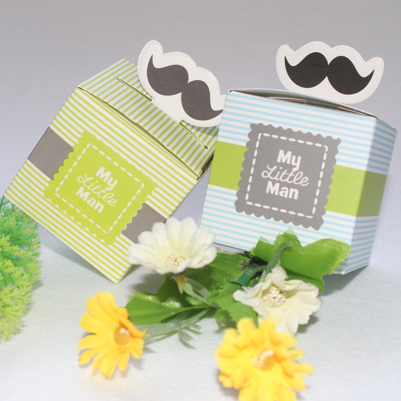 50pcs Moustache Gift Box with Ribbon Sweet Gift Chocolate Paper Candy Bag Birthday Decoration Marriage Beautiful Gift for Guest