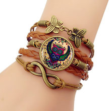 2019 NEW Hot Owl Time Gem Bracelet Vintage Combination hand-knitted Bracelets Bangles For Women Men gift Special sale(China)