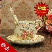 친구 축복 유럽 커피 컵 세트 차 창조적 인 세라믹 뼈 중국 커피 컵 영어 오후 차