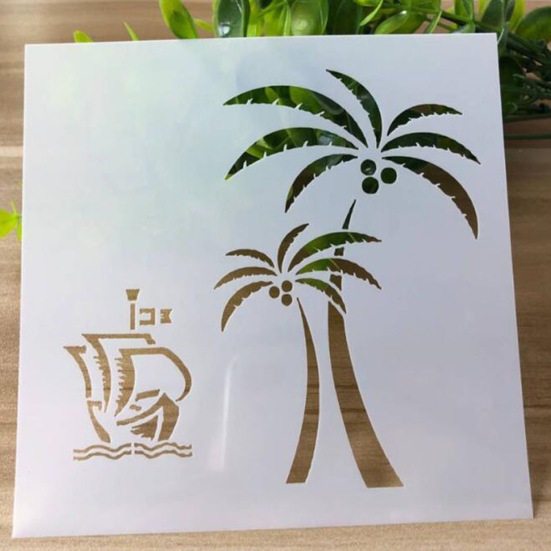 Coconut Tree Plant Painting Template Embossing DIY Craft Bullet Journal Accessories Sjablonen For Scrapbooking Stencil Reusable