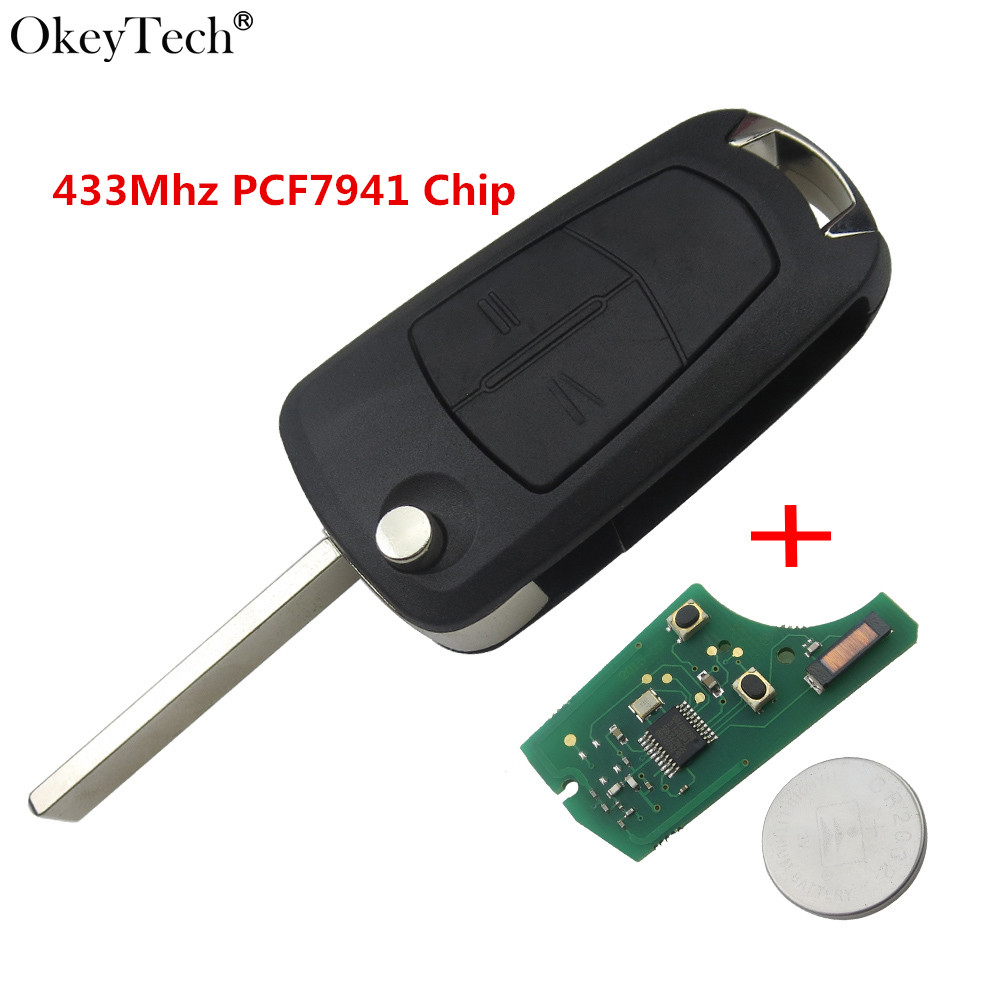 Okeytech 2 Buttons Flip Folding Remote Car Key 433Mhz PCF7946/PCF7941 Chip For Vauxhall Opel Corsa Astra Vectra Signum okeytech new 2 buttons car remote key fob 433mhz id46 pcf7941 chip for vauxhall opel corsa agila meriva combo uncut hu100 blade
