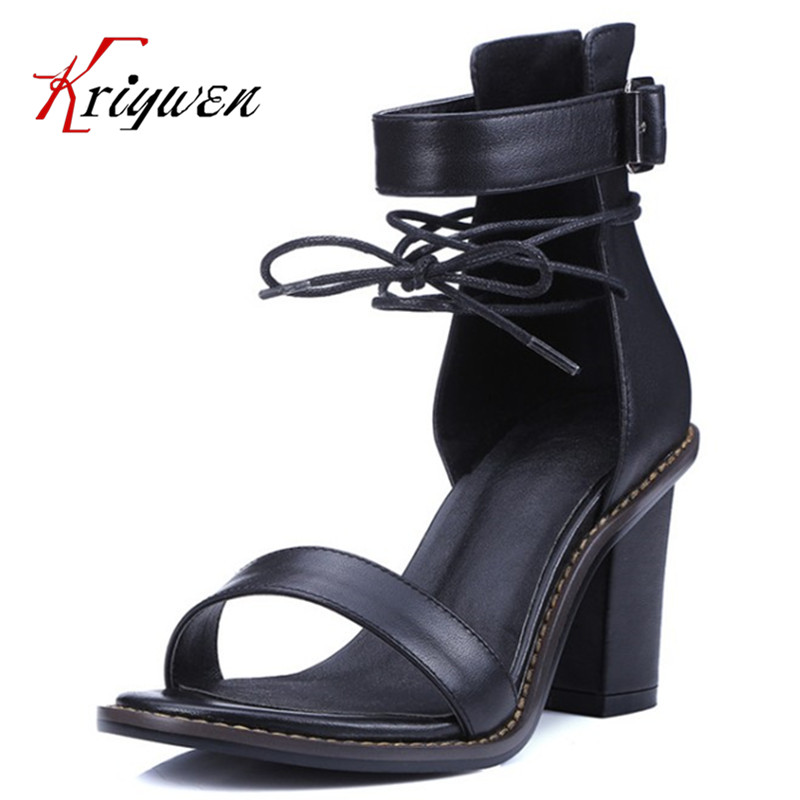 Sexy women open toe genuine leather Sandals Fashion Gladiator ankle strap Sandals for Women High Heels Summer dress office Shoes new ankle strap open toe high heels sexy ladies shoe women summer gold silver black sequins leather sexy sandals shoes smybk 022