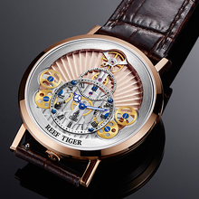 2018 New Reef Tiger/RT Luxury Gear Quartz Watches for Men Genuine Leather Strap Skeleton Watches Relogio Masculino RGA1958