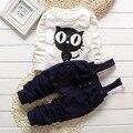 Ropa de los bebés del otoño Pequeño monstruo de la camiseta + pantalón de algodón de Ocio Boy ropa de La Muchacha set Trajes de Bebé Ropa de Bebé ropa