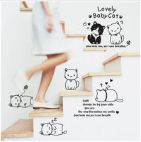USA PVC Children Little Black Cat Computer Removable Wall Sticker Mural School