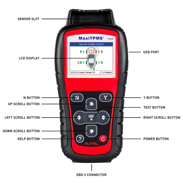 Aliexpress com : Buy Autel MaxiTPMS TS508 K tire pressure monitoring system  reset with OEM 315MHZ and 433MHZ Maxi TPMS Sensor Autel TS508K from