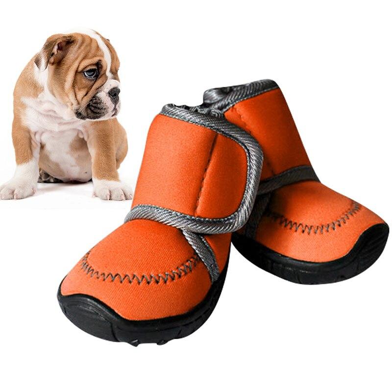 O animal de estimação impermeável da cor dos doces fornece sapatas do cão do animal de estimação anti-deslizamento botas de algodão petasia xs xl para o produto do animal de estimação de chihuahua