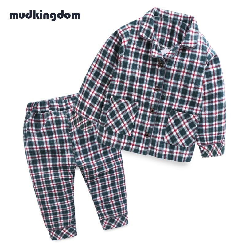 Mudkingdom Toddler Boys Girls Cotton Plaid Christmas Pajamas Sets Kids Baby Girl Home Clothes Girls Autumn Buttoned Pijamas