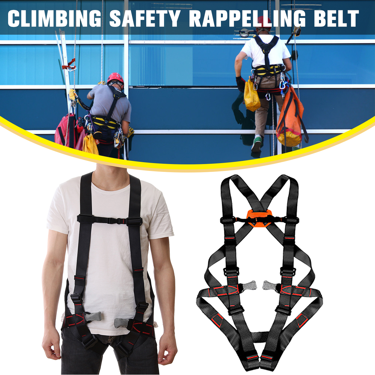 Outdoor Climbing Safety Belt Climb Mountain Rope Safety Waist Belt Protection Equipment Safety Harness Body Protecting