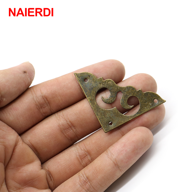 10PCS NAIERDI Antique Jewelry Box Corner Bracket Decorative Bronze Corner Protector Foot Leg Crafts Furniture Fittings Hardware 4pcs naierdi antique corner protector bronze jewelry chest box wooden case decorative feet leg metal corner bracket hardware