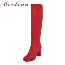 Meotina Women Boots Winter Thick Heel Knee High Boots Zipper Square Toe High Heel Tall Boots Female Shoes New Red Big Size 33-43