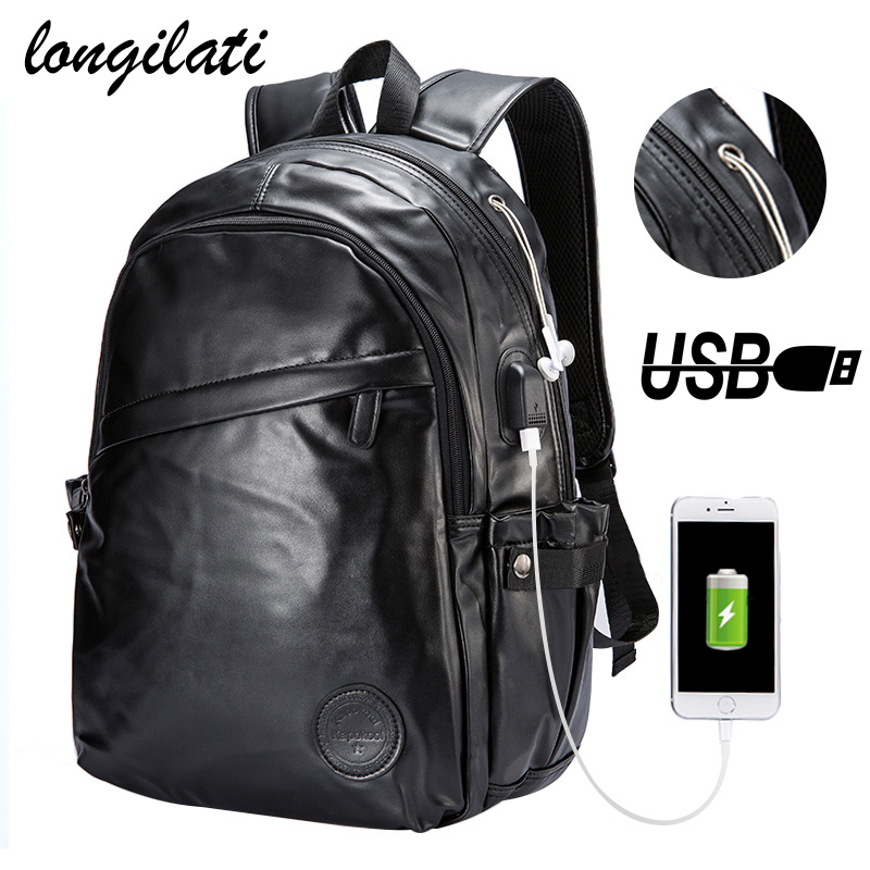 Men Backpacks Leather Laptop Bagpack mochilas de couro masculina hombre Men's External Usb Charing Port Backpack School Bag sac рюкзаки zipit рюкзак shell backpacks