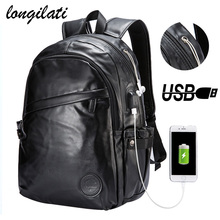 1dc6cc9dc3c3 Men Backpacks Leather Laptop Bagpack mochilas de couro masculina hombre  Men s External Usb Charing Port Backpack School Bag sac