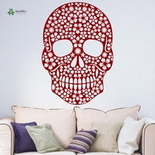 YOYOYU Wall Decal Vinyl Removeable Room Decoration Skull Floral Sugar Candy Day of the Dead Halloween Wall Sticker YO133 day of the dead girl skull head vinyl wall decal sticker