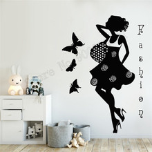 Girls Women Beauty Salon Wall Decoration Art Vinyl Removeable Poster Batterfly Decor Modern Fashion Ornament LY764 цена