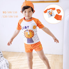 2019 New Baby Boys Swimsuit 1-7 years old Summer Beach Swimwear Kids Orange lion T-shirt Short Pants Hat Zipper Swimming Suit(China)