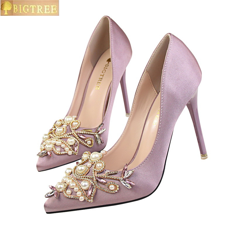 a627b95fb9 Star Style Women Fashion Pearl Crystal High Heels Shoes 2017 New Women's  Sexy Pointed Toe Shallow Solid Silk Elegant Party Shoes-in Women's Pumps  from ...