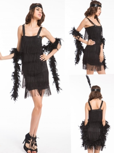 FREE SHIPPING New Ladies Adult Fringe Flapper Jazz 20s 30s Fancy Dress Costume Chicago dress