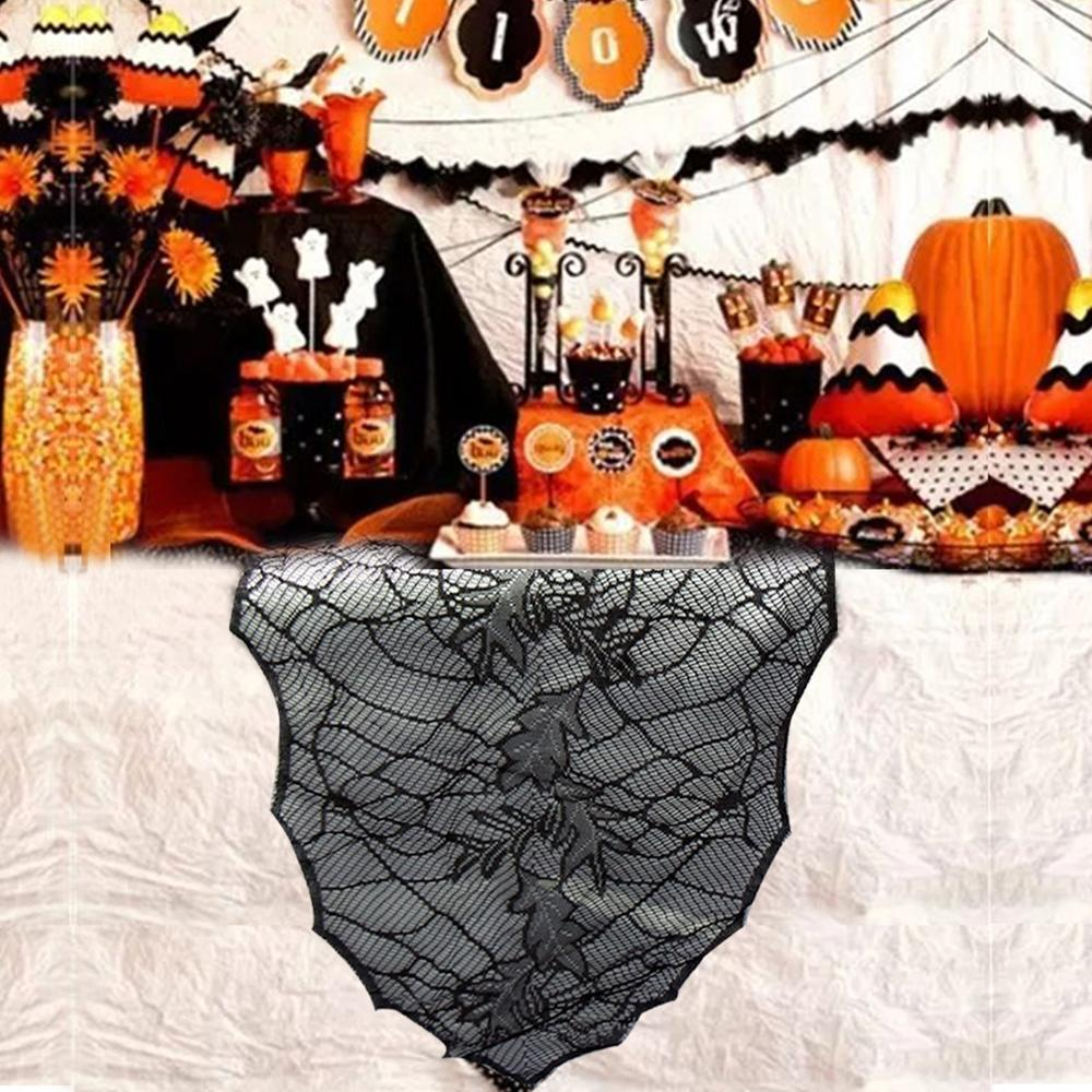 Black Table Runners for Halloween Party Decoration Haunted House Tablecloth Halloween Decorations for Home Party 180*55cm
