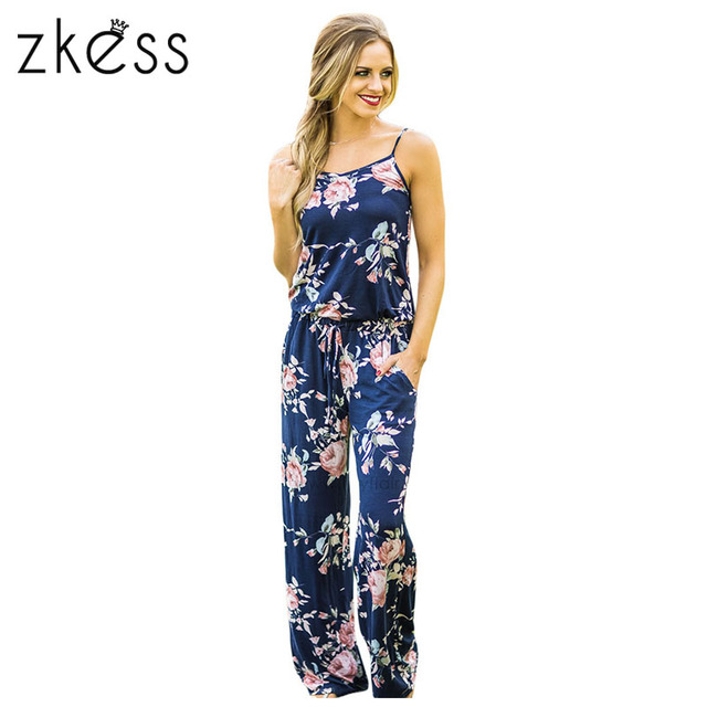 1bfeec68064 ZKESS Summer Jumpsuit Women Floral Wide Leg Rompers Spaghetti Strap Long  Playsuits Casual Beach Long Pants Jumpsuits Overalls