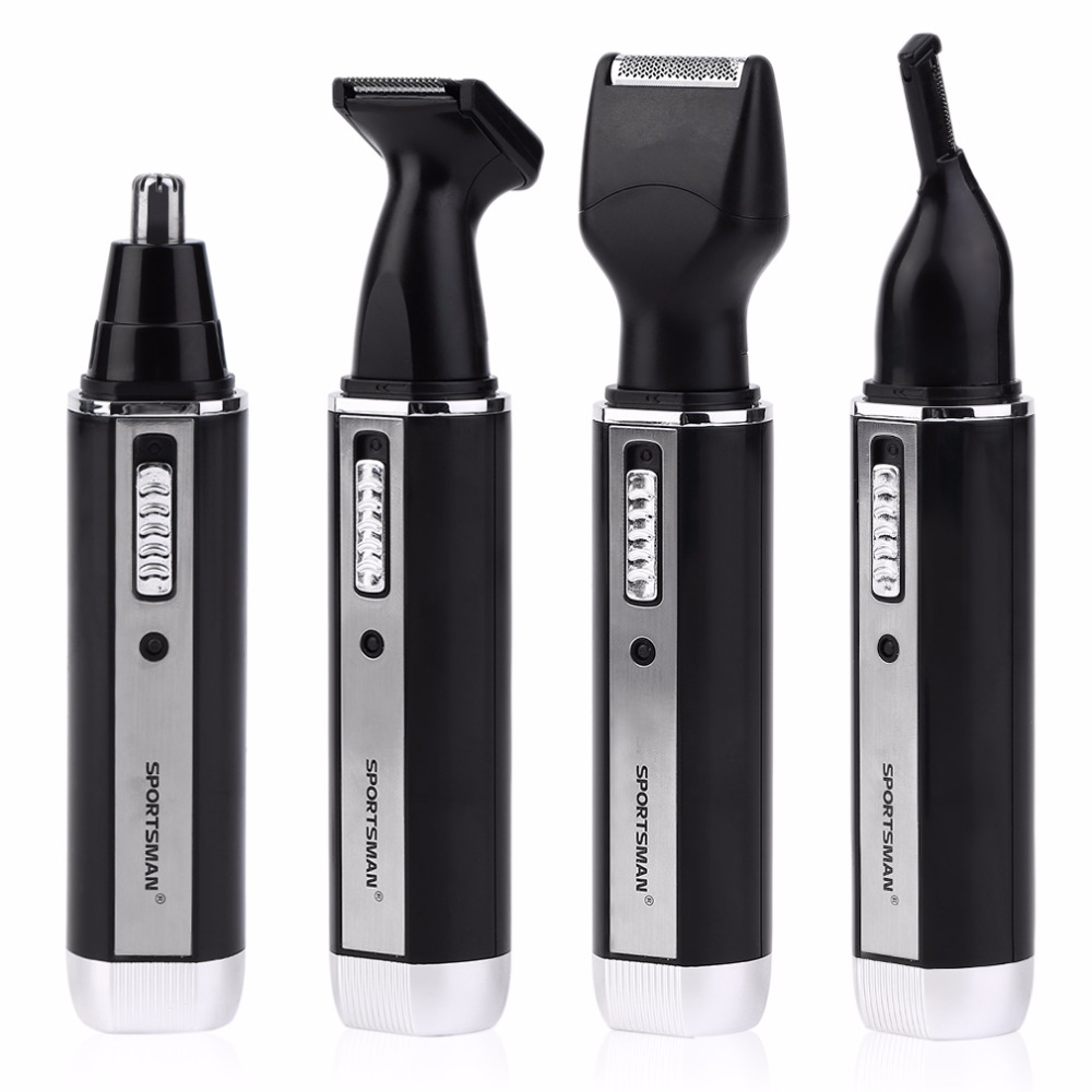 4 In1 Personal Waterproof Electric Men Male Ear Nose Trimmer Rechargeable Hair Clipper Shaver Portable Beard Trimmer Machine kemei 2 in 1 portable rechargeable electric nose hair trimmer clipper sideburns