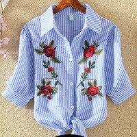 T Shirt Women 2017 Embroidery Tshirt Female Floral T-Shirt Woman Summer Casual Cotton Slim Korean Tops Plus Size Womens Clothing
