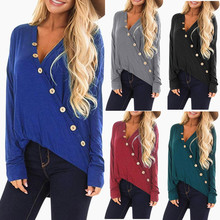 2019 Womens Button V-neck Jersey Viscose Long Sleeve  Woman Blouses