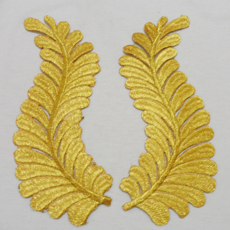 Pair gold embroidered leaf applique iron on patches for