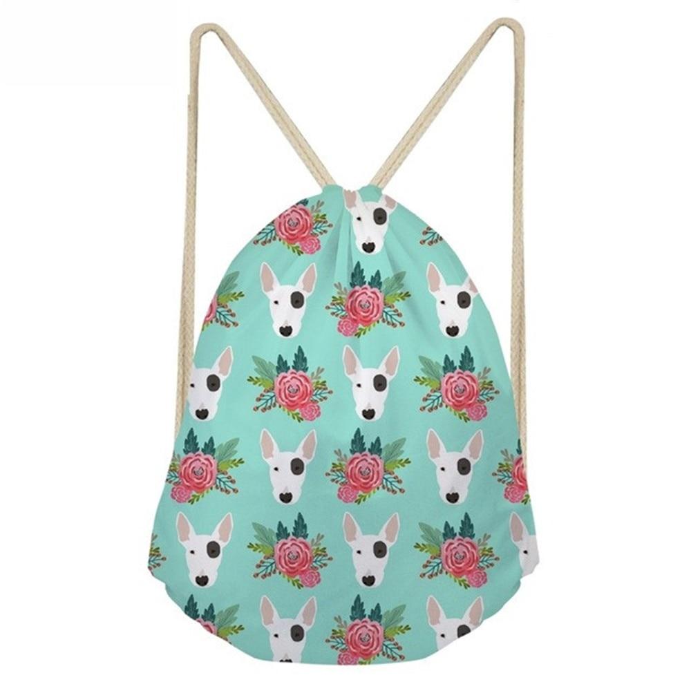 ThiKin Bull Terrier Flower Pattern Drawstring Bag For School Girls Women Softback Funny BackPack Bag Mochila Feminina Bags