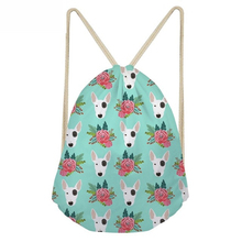 ThiKin Bull Terrier Flower Pattern Drawstring Bag for School Girls Women Softback Funny BackPack Bag Mochila Feminina Bags