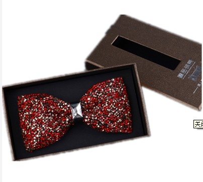 2017 new British luxury nightclub ultra-flash diamond-studded bow tie male groom dancers host formal wedding tie