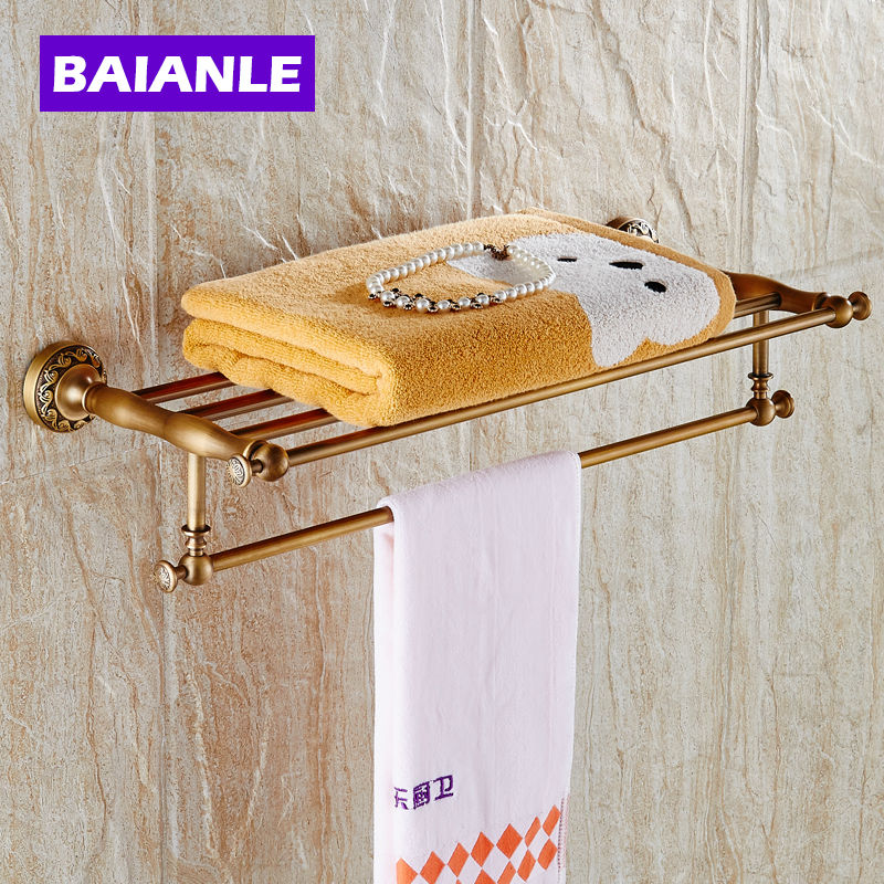 New arrival Bathroom Accessories Classic Antique Brass Bathroom Towel Rack Bar Shelf  Wall Mounted whole brass blackend antique ceramic bath towel rack bathroom towel shelf bathroom towel holder antique black double towel shelf